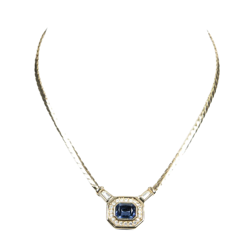 Rhinestone Pendant Necklace  in Gold Stainless Steel without Nickel