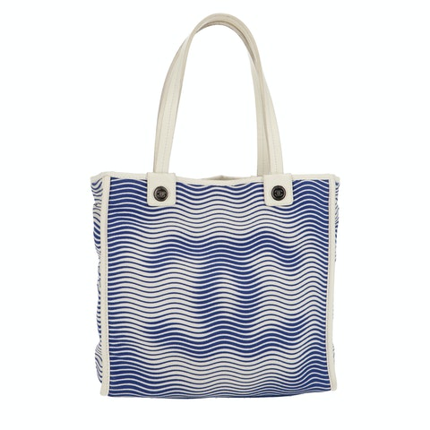 Blue Printed Canvas Tote