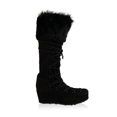 Black Suede Lace Up Wedge Boots