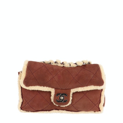 Brown Suede and Shearling Specialty Flap Bag