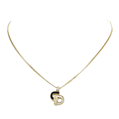 CD Rhinestone Pendant Necklace  in Gold/Black Stainless Steel without Nickel