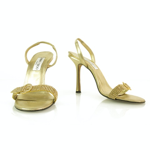 Gold with Crystals and Buckle Slingback Leather Sandals