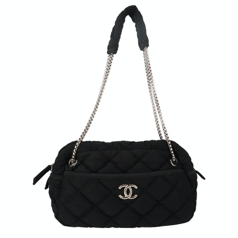 Black Fabric Bubble Shoulder Bag