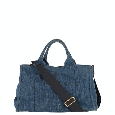 Blue Printed Denim Tote