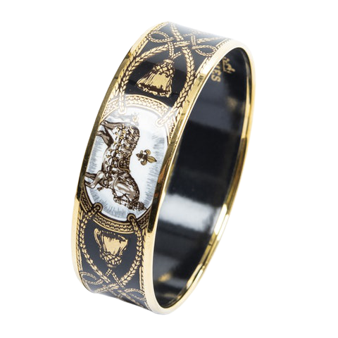 Enamel Bangle MM in Black/White/Gold Stainless Steel without Nickle