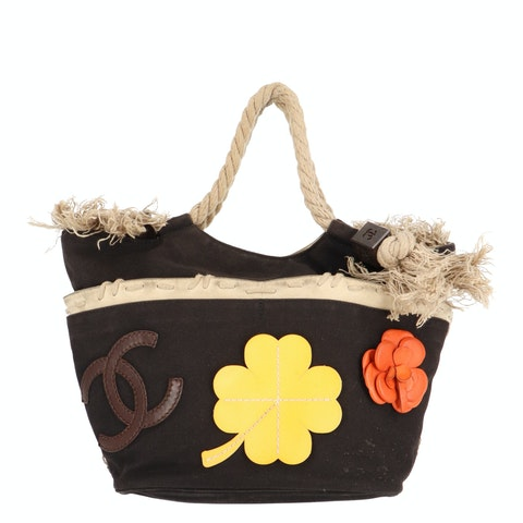 Multicolor Canvas Cruise Rope Tote