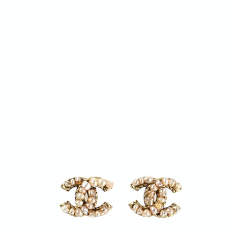Gold-Toned 'CC' Clip-On Earrings