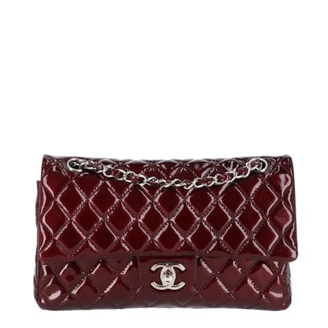 Red Medium Patent Classic Double Flap Bag
