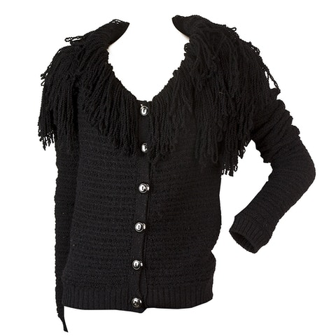 Black Fringe Collar Wool Alpaga Knit Cardigan