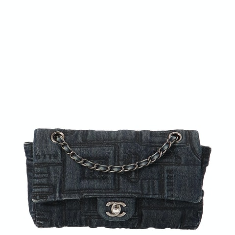 Navy Wash Denim Specialty Flap Bag