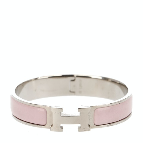 Pink Enamel and Palladium-Plated Clic Clac H Bracelet