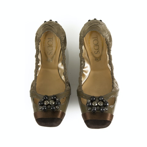 Gommino Taupe Suede Beaded Ballerinas Flat Elastic Shoes Rubber Soles