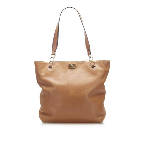 Lambskin Leather Tote Bag