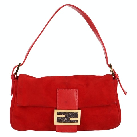 Red Suede Baguette