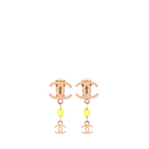 Pink 'CC' Clip-On Earrings