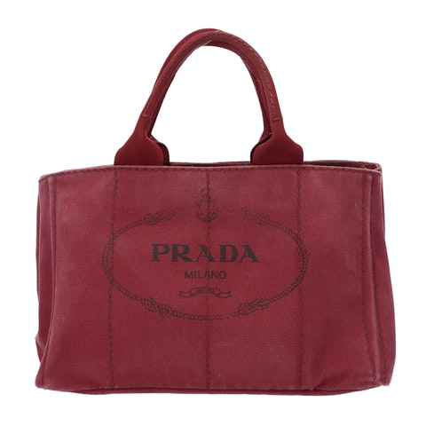 Prada Red Printed Canvas Tote