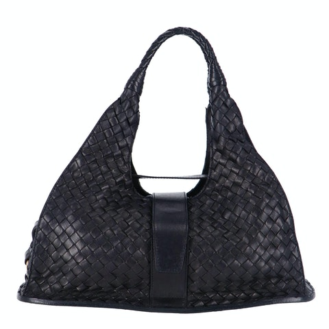Bottega Veneta Black Medium Intrecciato Shoulder Bag