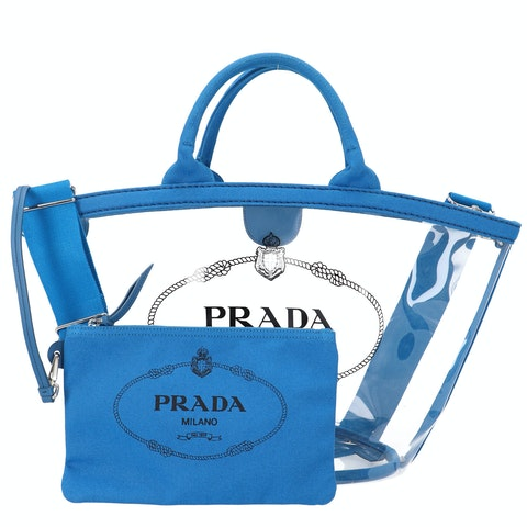 Prada Vinyl and Blue Canvas Printed Tote