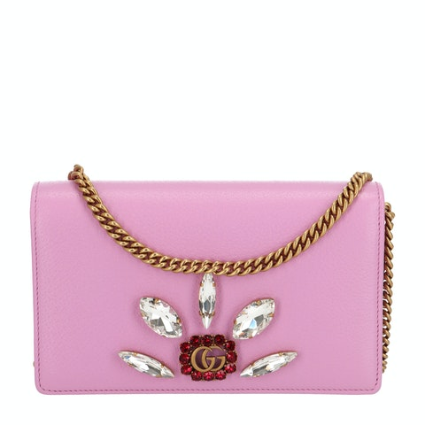 Pink Embellished Leather Chain Wallet Mini
