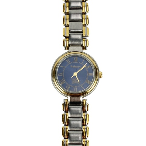 Burberry Vintage Silver Gold Stainless Steel Round Watch 6000