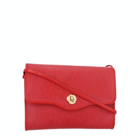 Red Honeycomb Coated Canvas Crossbody