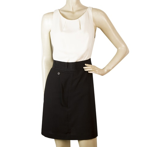 Black & Ivory Tulle Back Silk & Wool Mini Dress