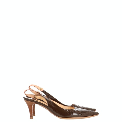Brown Patent Leather Slingback Pumps