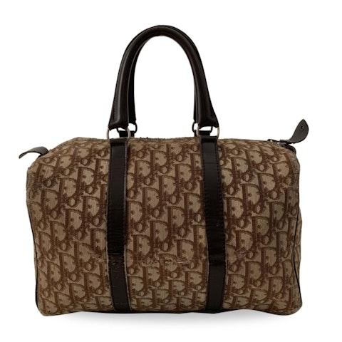 Dior Brown Jacquard Canvas Bowling Bag