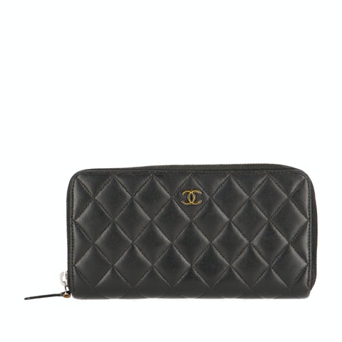 Black Patent Leather Long Zipped Wallet