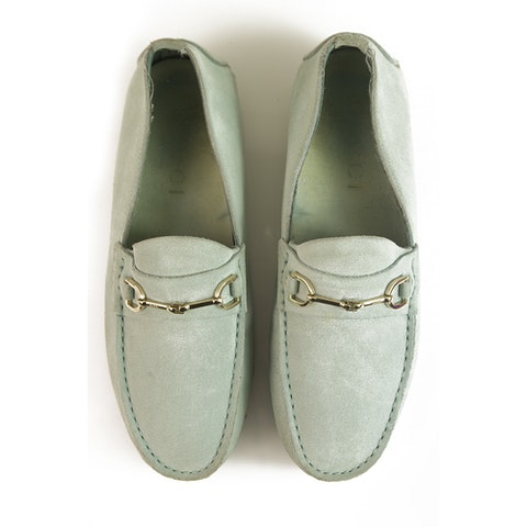GUCCI Light blue suede leather silver tone HW moccasins loafers flat shoes 36.5 C