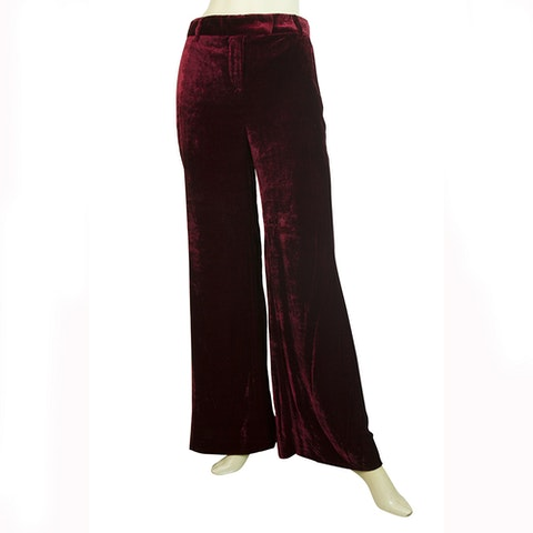 Emilio Pucci Burgundy Red Velour Silk Blend Flare Trousers Pants
