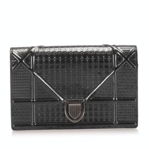 Micro-Cannage Diorama Patent Leather Shoulder Bag
