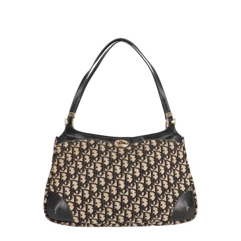 Black Jacquard Canvas Shoulder Bag