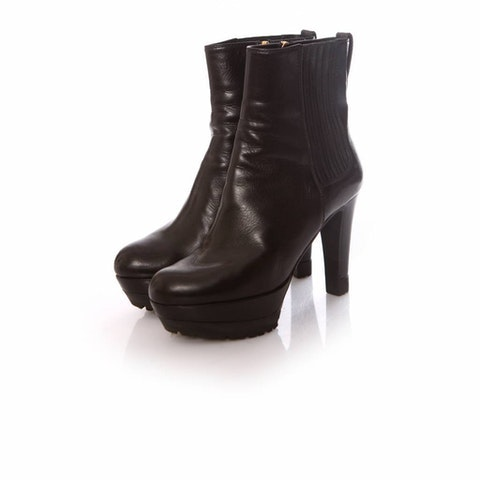 Sergio Rossi, Black leather platform boots in size 36.5