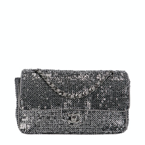 Chanel Silver Sequin Classic Single Flap Bag