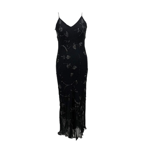 Les Copains Black Embellished Evening Maxi Dress Size 48 IT