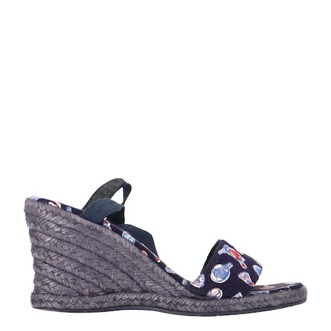 Blue Canvas Wedge Espadrilles
