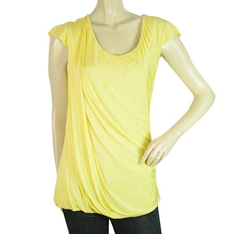 Yellow Viscose Fantastic Draped Blouse Long Top