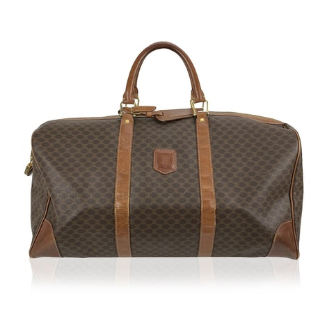 Celine Vintage Brown Macadam Canvas Travel Duffle Duffel Bag