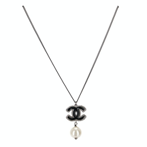 Silver-Toned 'CC' Pearl Necklace