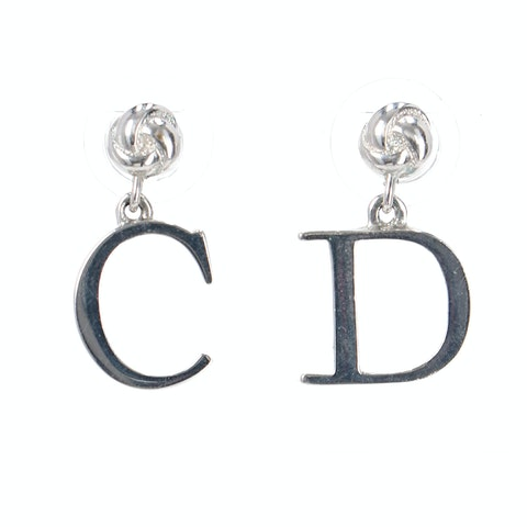 Silver 'C' and 'D' Letter Earrings