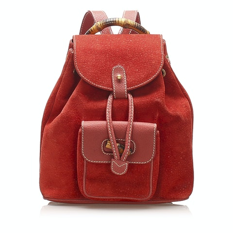 Bamboo Drawstring Suede Backpack