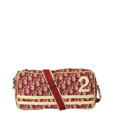 Red Oblique Coated Canvas Crossbody