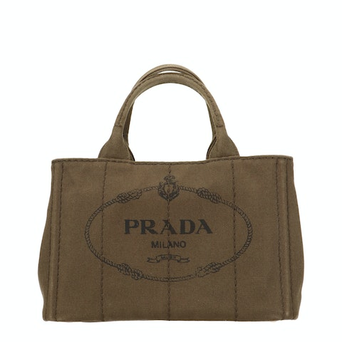 Green Printed Canvas Tote