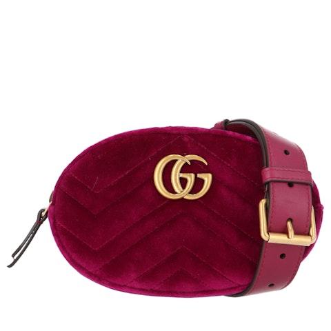 Purple Velvet 'GG' Marmont Belt Bag