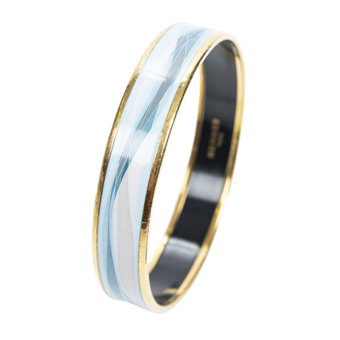 Enamel Bangle PM in Light Blue/White Stainless Steel without Nickle