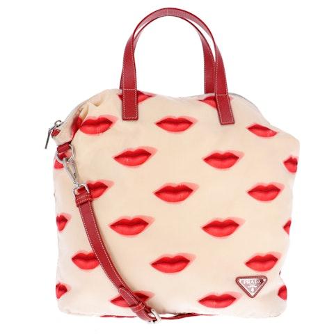 Beige Lip Nylon Shopper