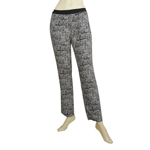 American Vintage Black & White Viscose Elastic Waist Trousers Pants