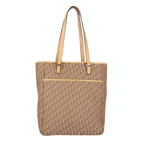 Brown Jacquard Canvas Tote