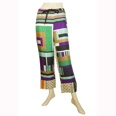 Mulicolored Geometric Pattern Cropped Summer Trousers